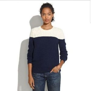 Madewell Cable Knit Colorblock Sweater Sz M